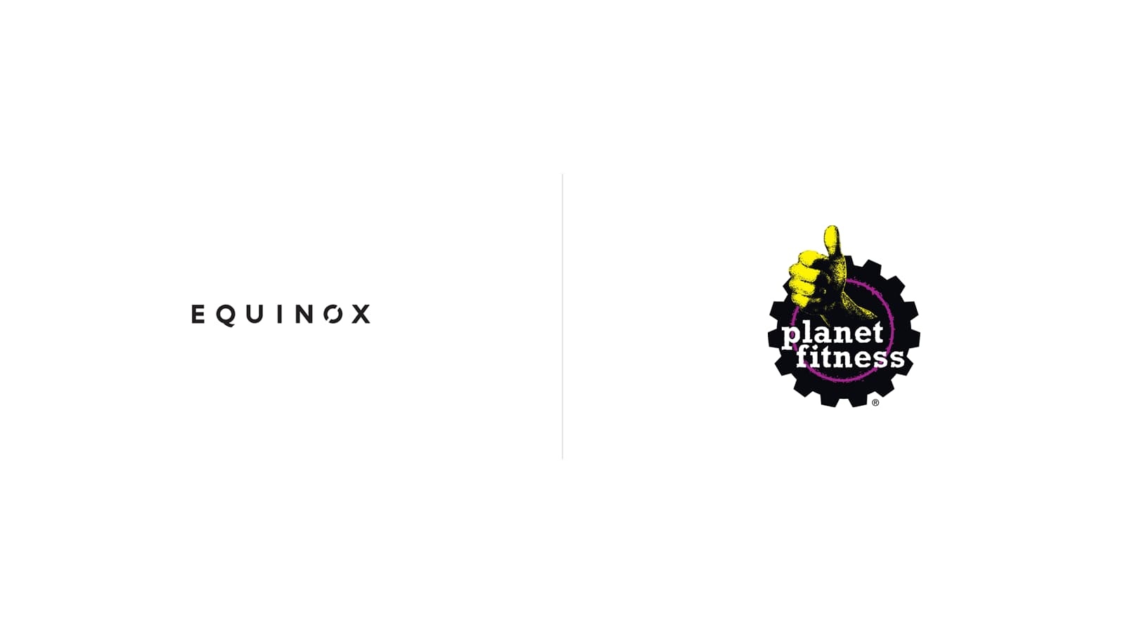 Equinox logo juxtaposed to Planet Fitness logo