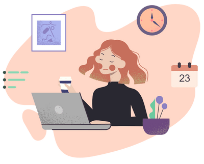 a colourful illustration of a red-haired woman working on her laptop and drinking a coffee
