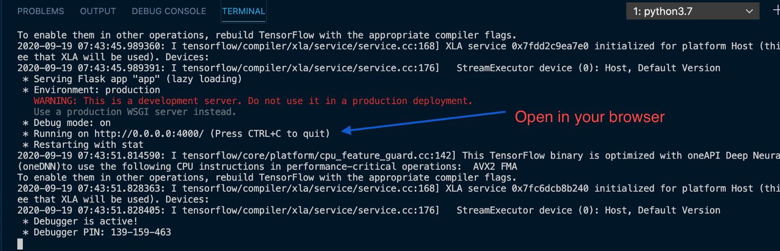 Server output
