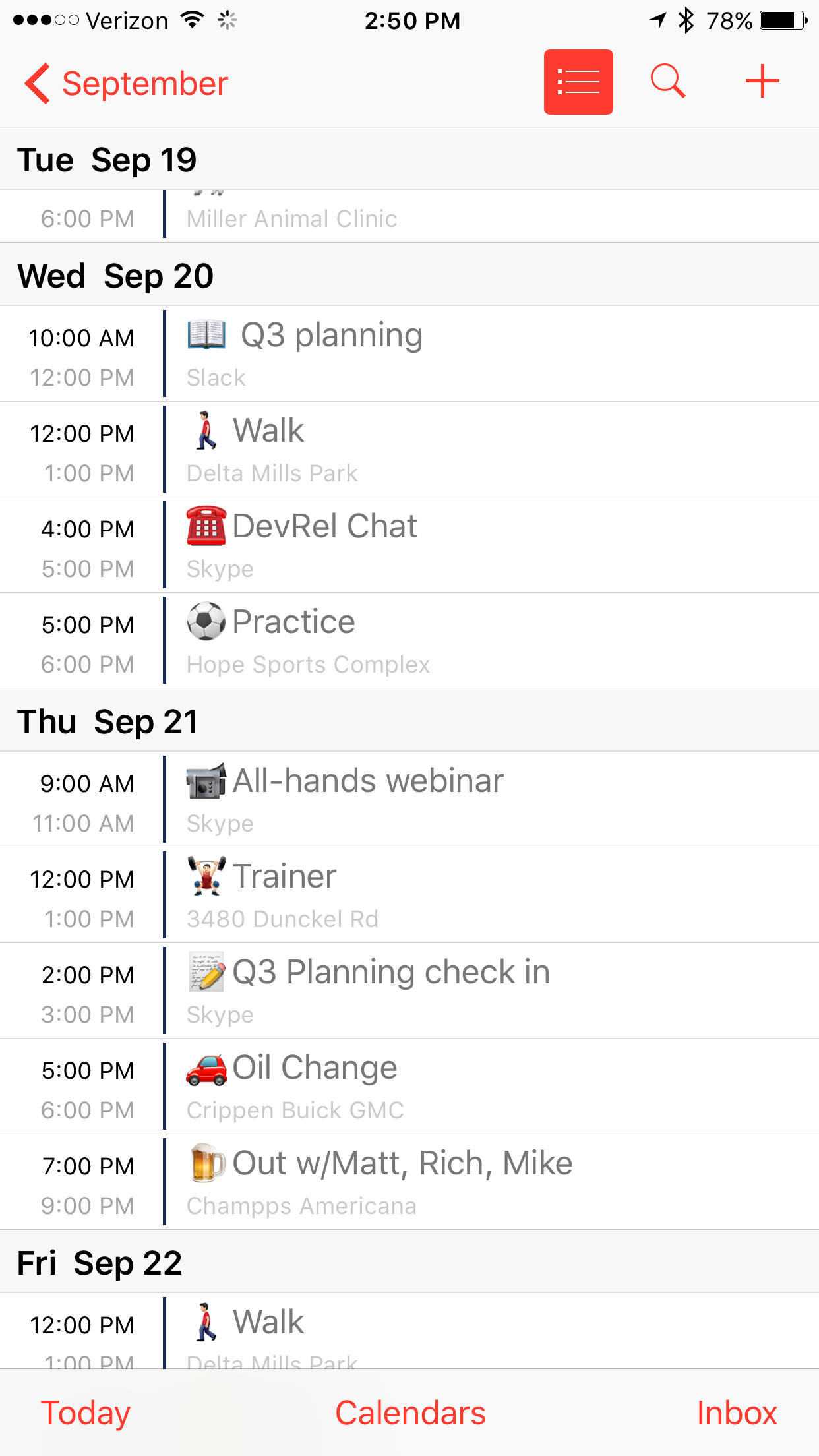 Life pro tip use emoji in calendar events far easier to spot a symbol than it is to find a specific word for example see how fast you can find the soccer practice in the calendar below buycottarizona Image collections