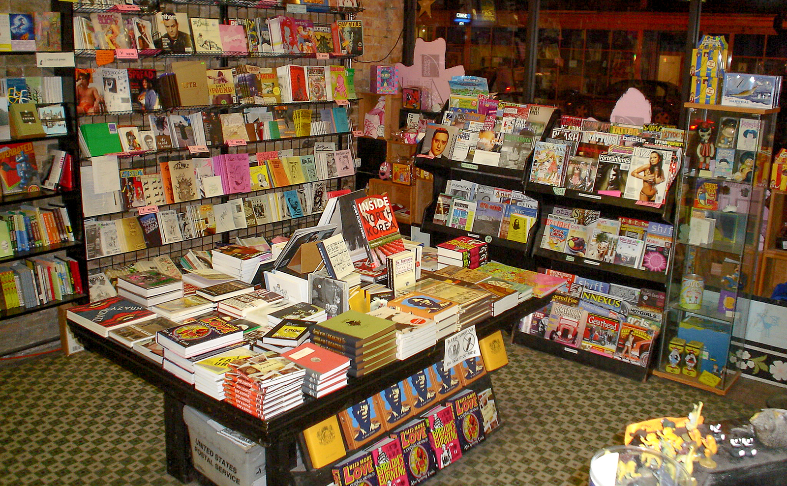 book displays at quimby's