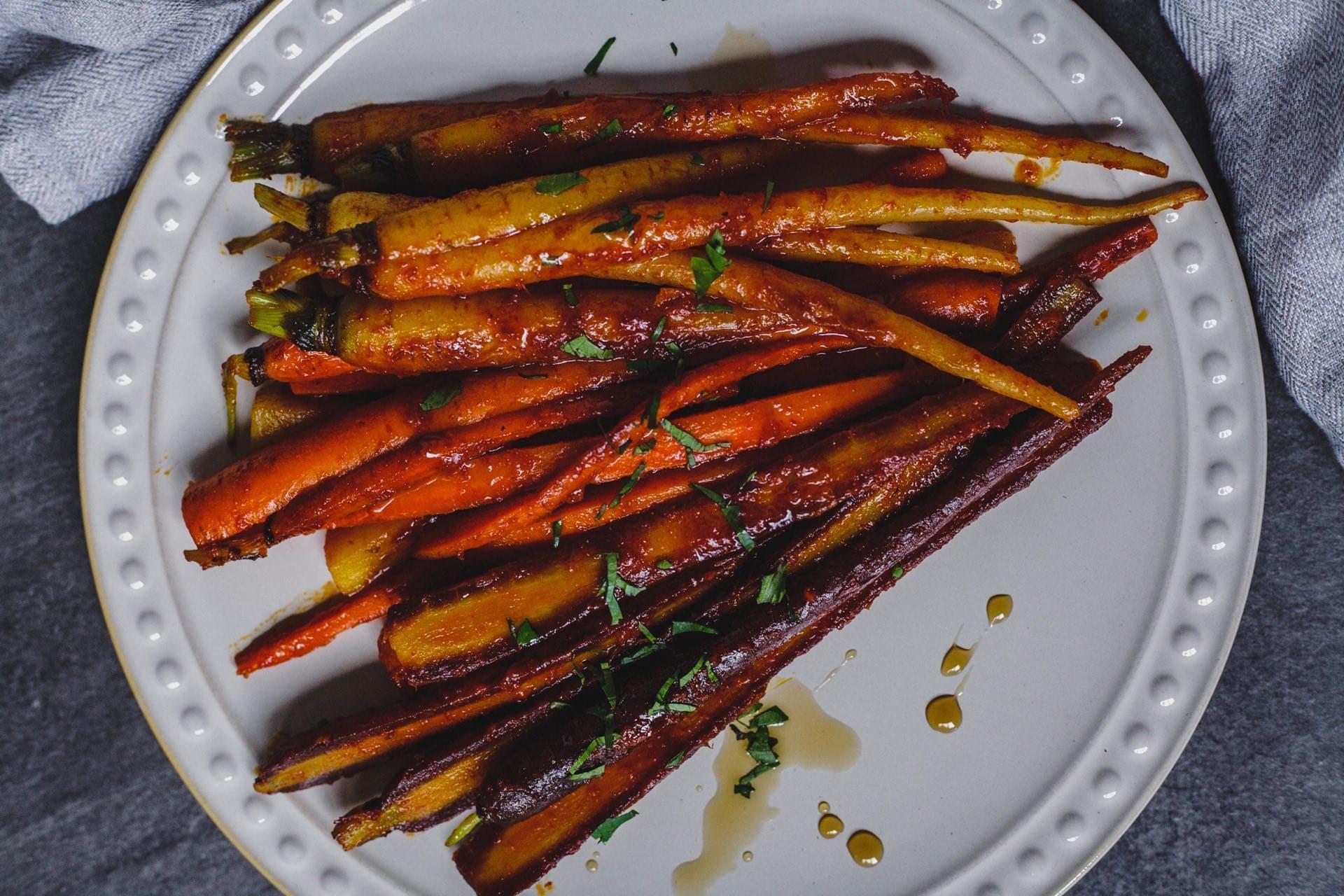 Honey And Harissa Glazed Carrots