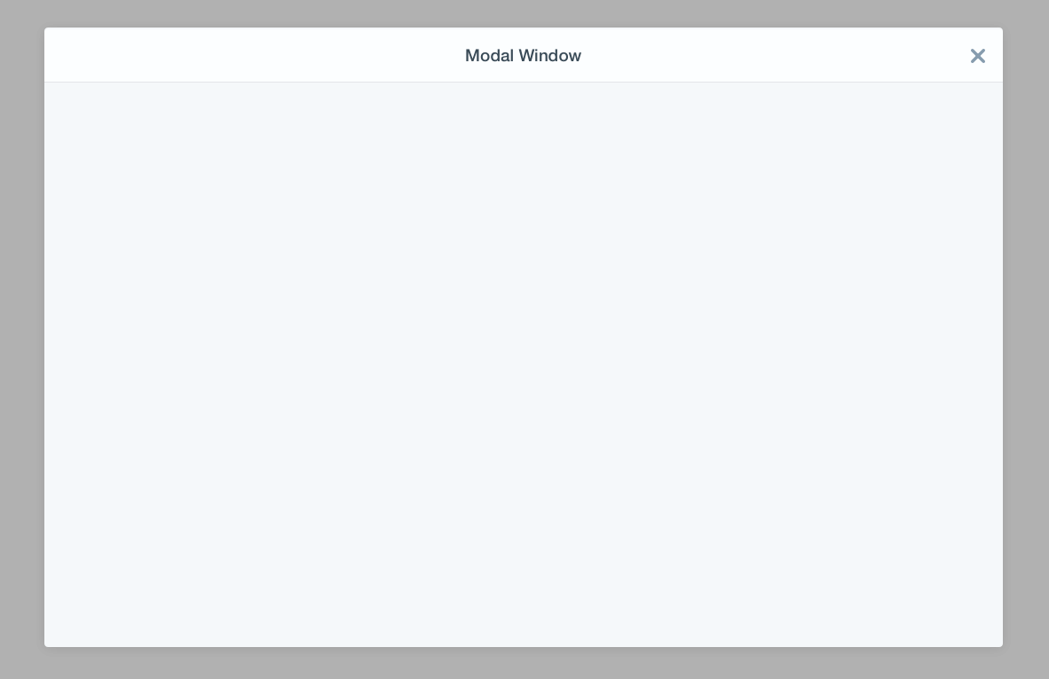 modal window over a dark transparent background only header and body