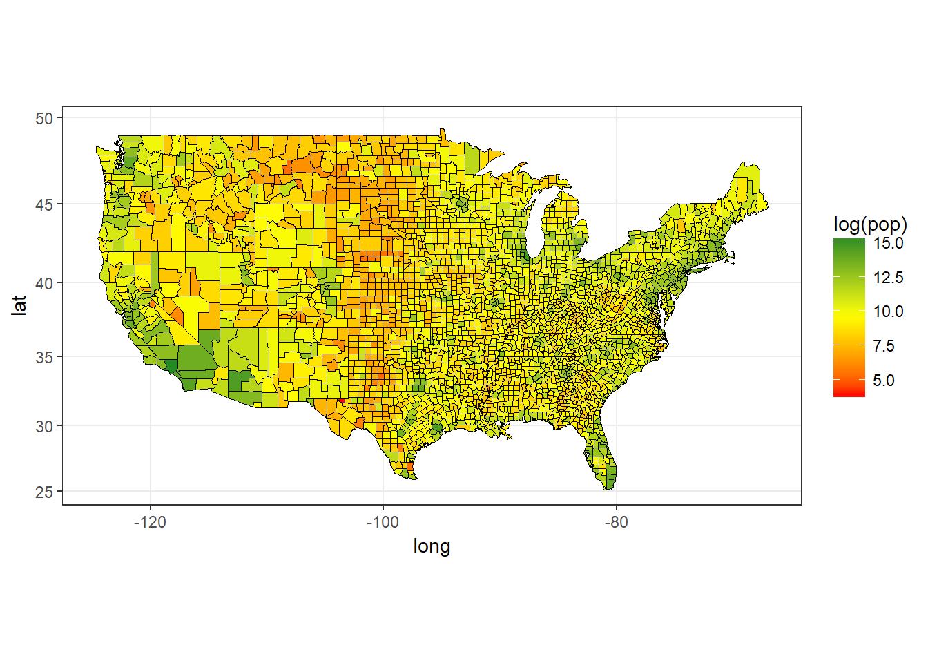 USA Population (Log) by County, 2009