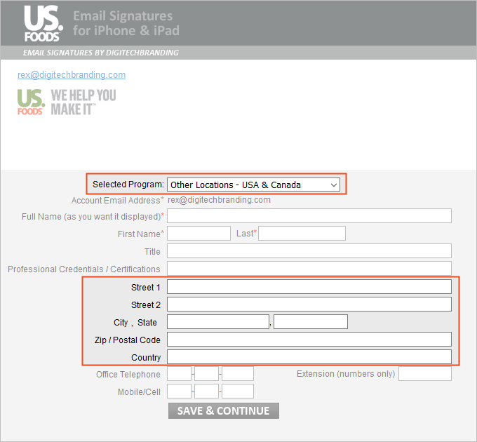 US Foods Other Location Email Signature Template