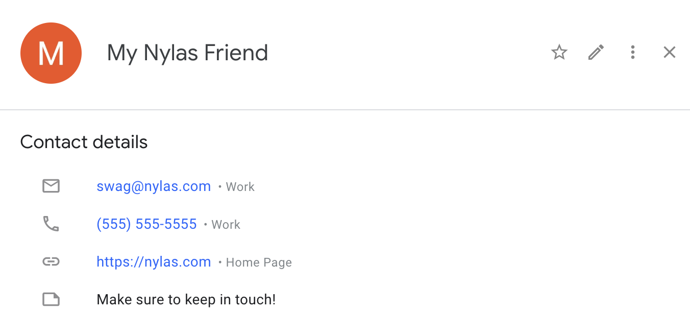 Google Contact Example