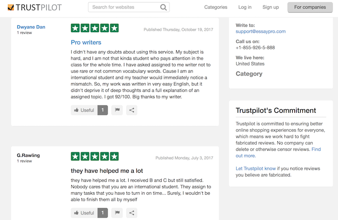 essaypro.com reviews on TrustPilot are positive