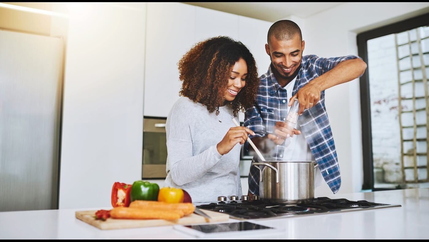 Couple Cooking with Stovetop
