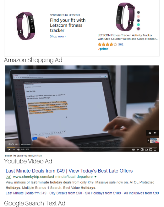 Paid advertisement examples: Google Search, Amazon, and Youtube