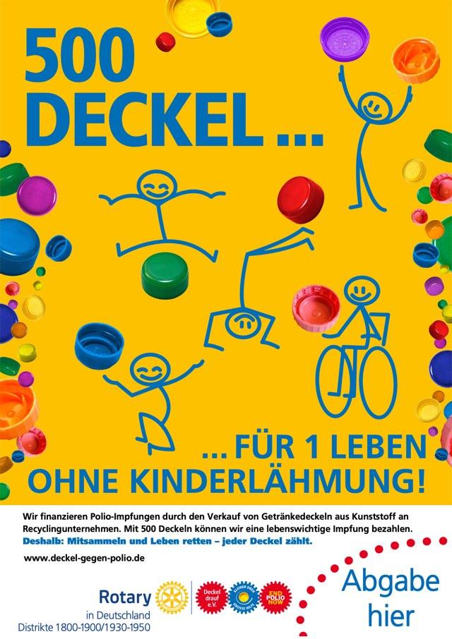 Plakat Deckel gegen Polio – Abgabestelle hier in der Stadthafenschule Essen