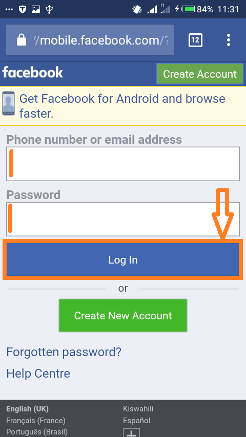 Changing password on Facebooks mobile website: Enter your email/phone number and password to sign into Facebook