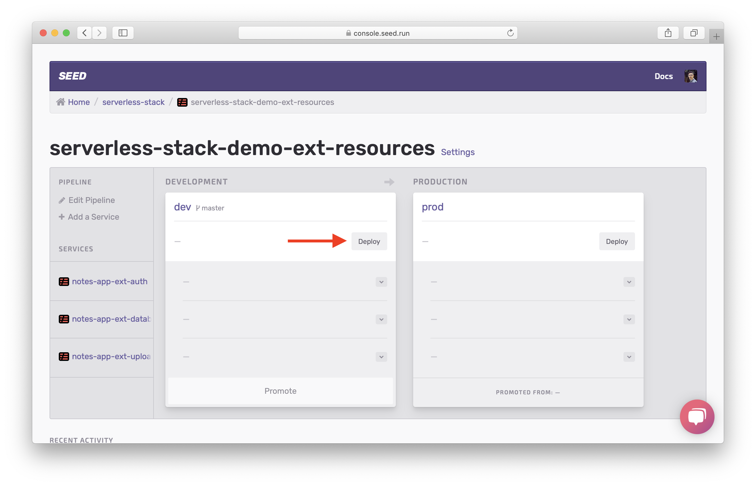 Select Deploy in dev stage