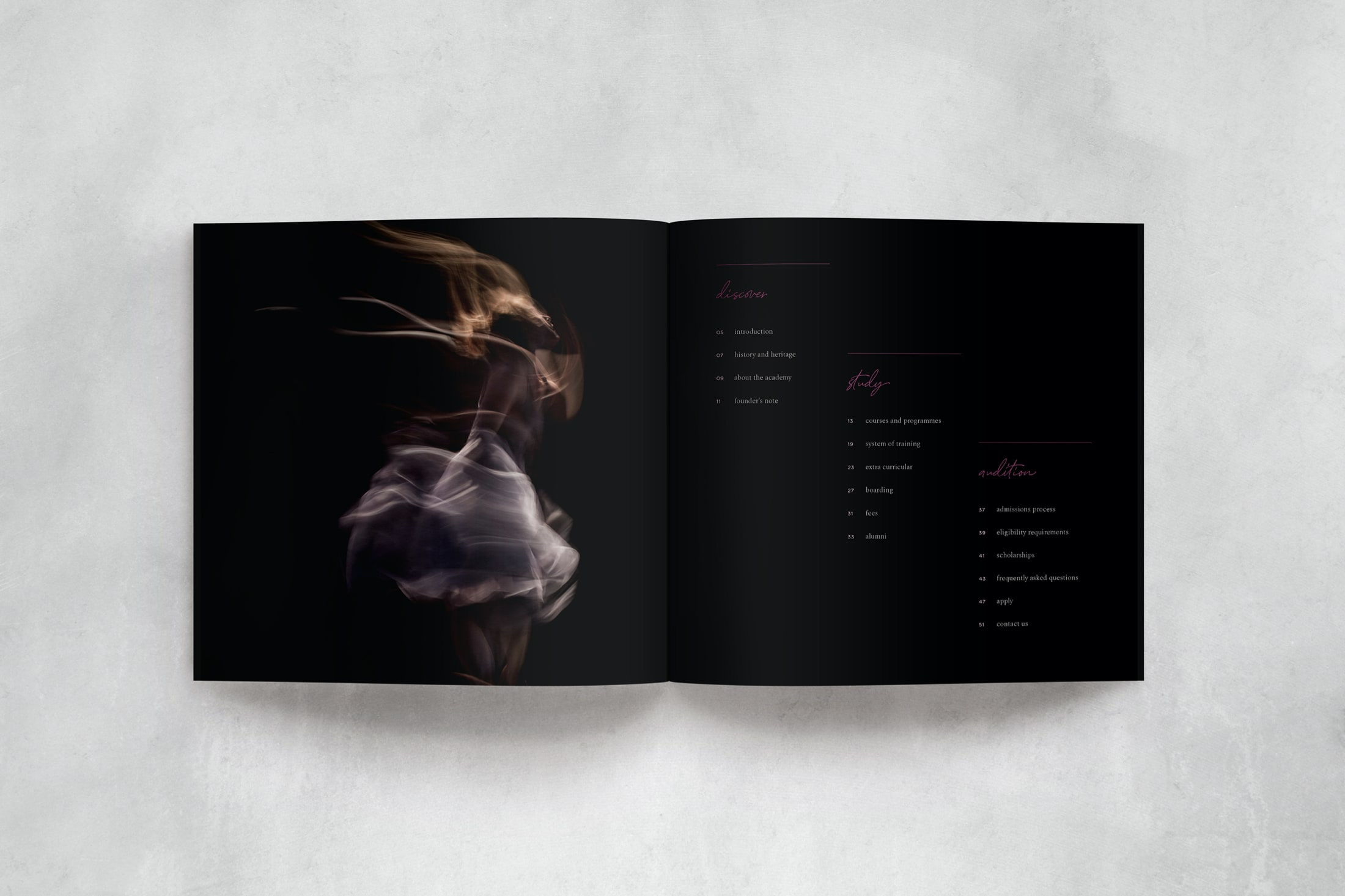 Contents page and prospectus design for ballet and contemporary dance school, The Litvinjov Academy
