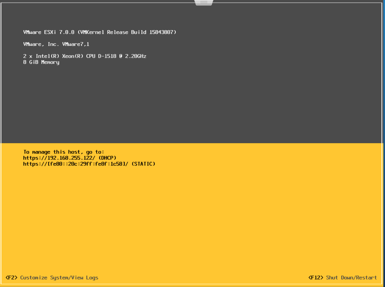 ESXi upgraded, reboot done