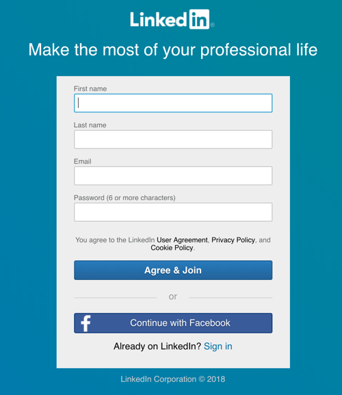 linkedin signup page continue with facebook
