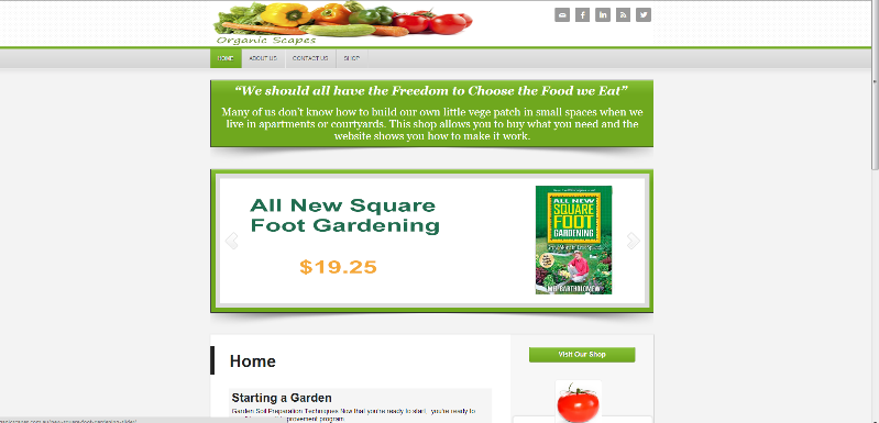 Organic Scapes Website Screenshot