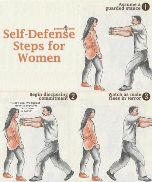 Self defence steps for women satire