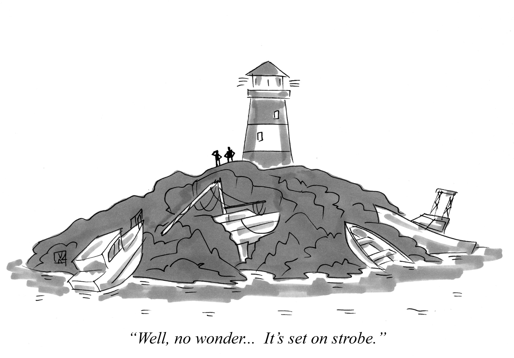 Cartoon about boats grounding because of a broken lighthouse