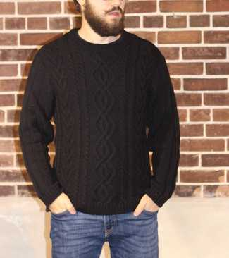 Cable Knit Wool Crew Neck Sweater