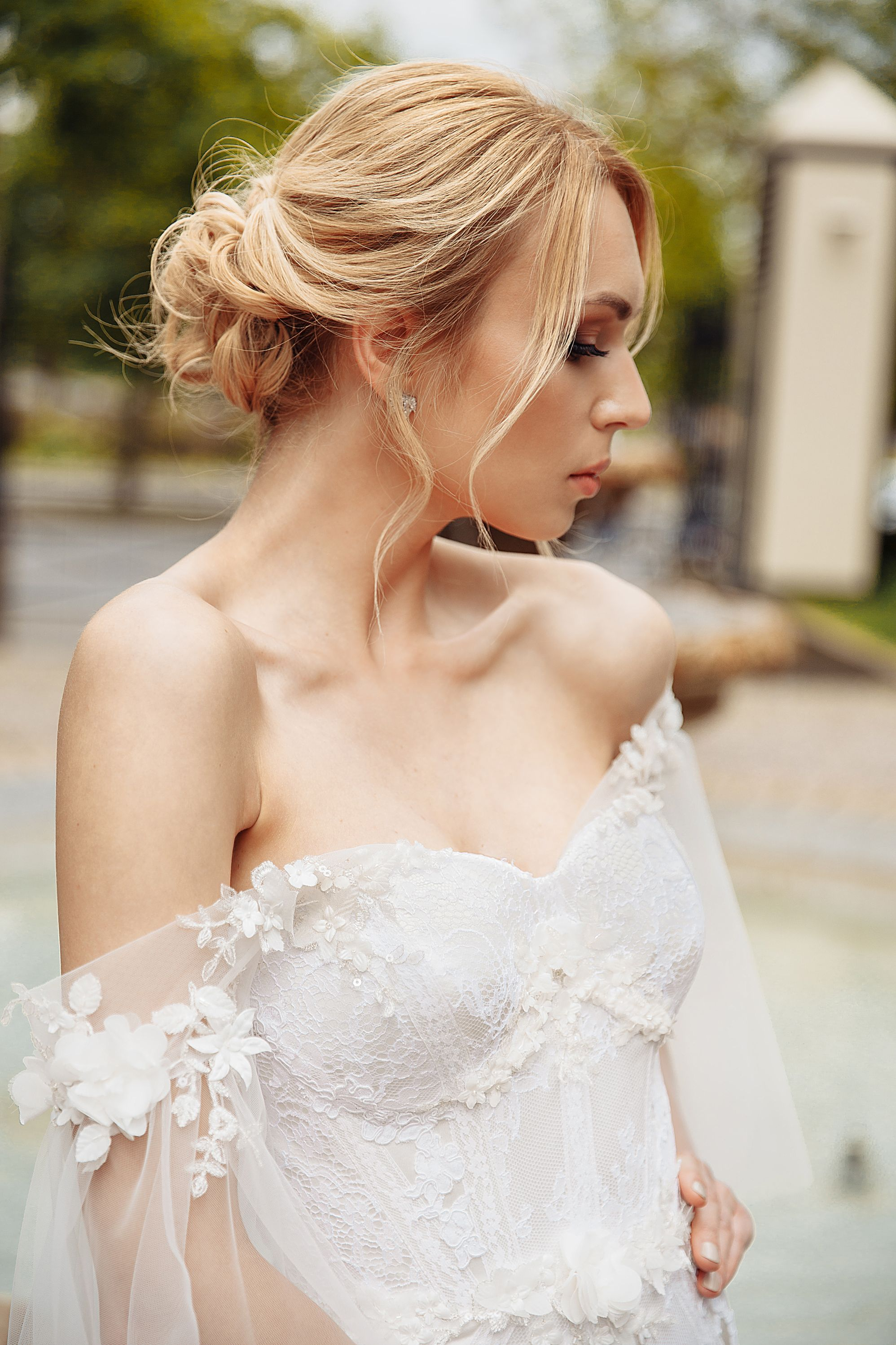 bridal boutique montreal luxury wedding gowns off the shoulder sleeves tulle and lace
