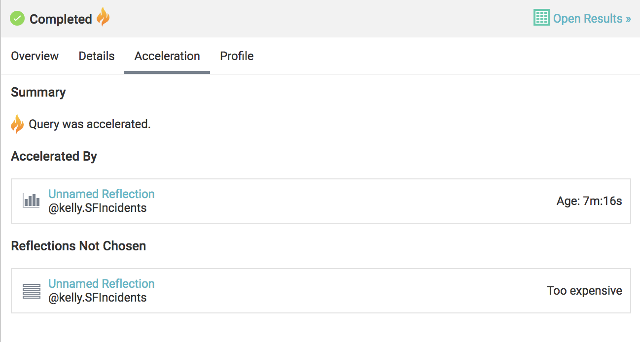 Checking the acceleration tab on the query profile