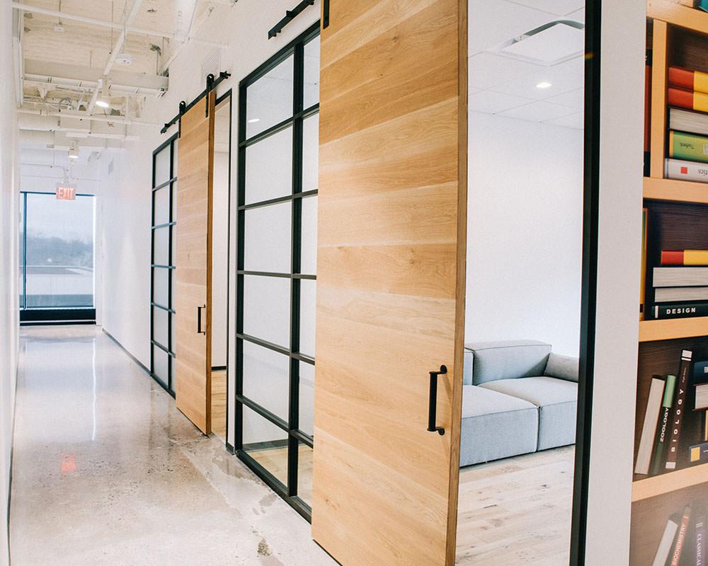 Long Hallway with Sliding Wooden Doors