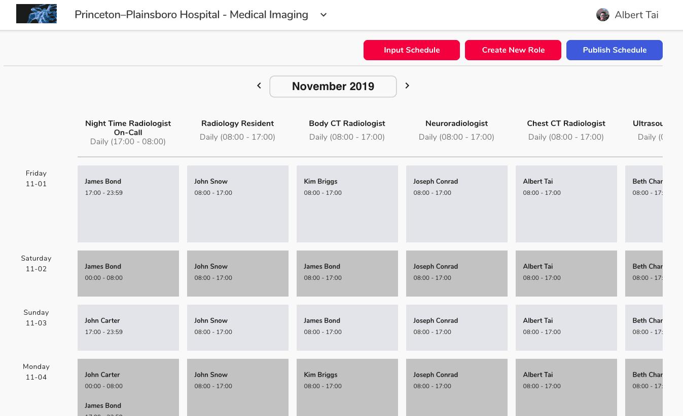 Schedule Management Web Screenshot