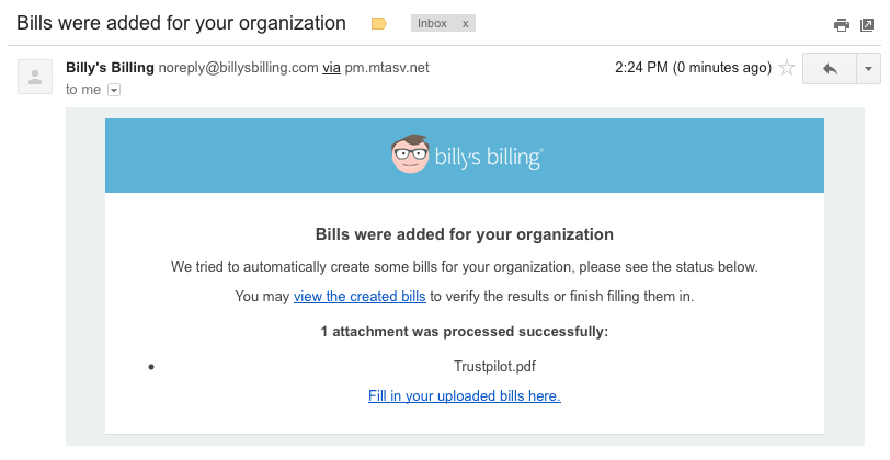 Upload regninger via e-mail
