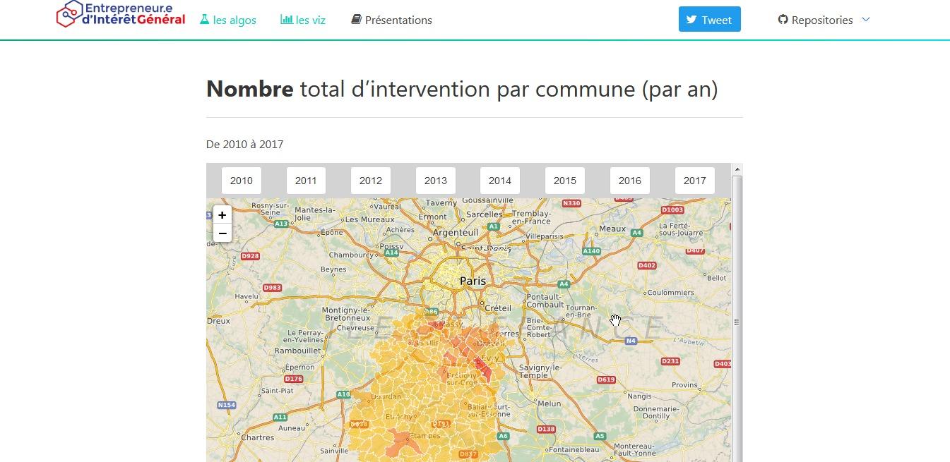 """Une capture d'écran qui montre une carte sur laquelle on voit le """"nombre total d'intervention par commune (par an) des pompiers en Essonne"""