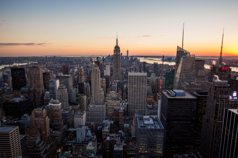 Aerial shot of Manhattan at dusk
