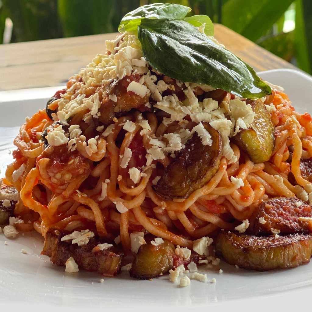 pasta: spaghetti norma