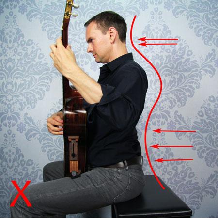 Guitariste qui cambre le dos