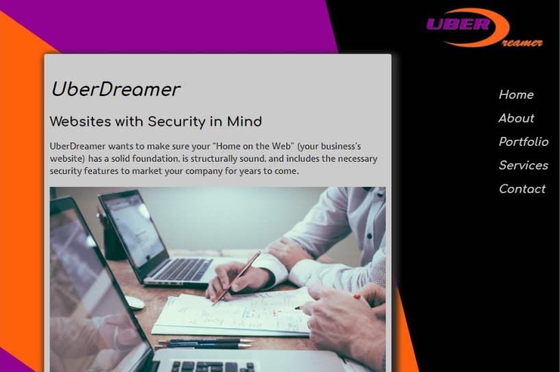 cropped screenshot of UberDreamer website