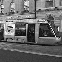 advertising on the side of a tram