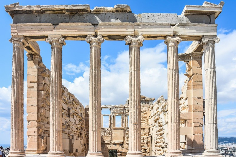 crumbling Parthenon with view to sky