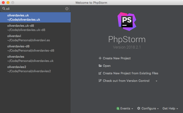 The PhpStorm welcome screen with filters applied to the project list