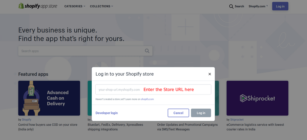 Enter your store URL