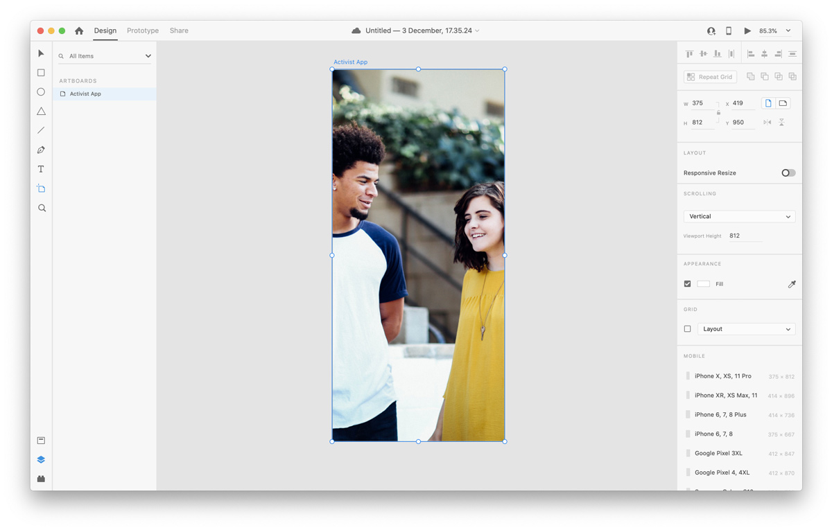 Working with imagery in Adobe XD