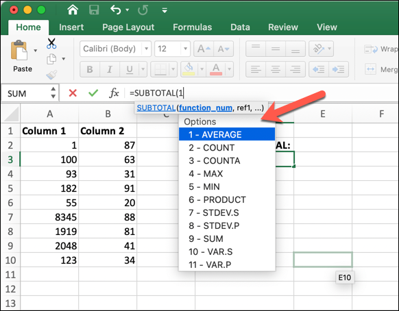 An Excel worksheet with the SUBTOTAL function typed into the formula bar, and the drop-down menu with options displayed