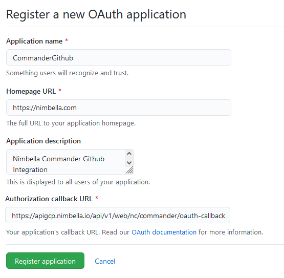 Register a new OAuth application