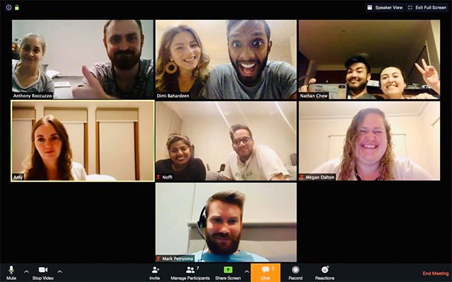 An online Gospel Community meeting discussing Sunday's church service