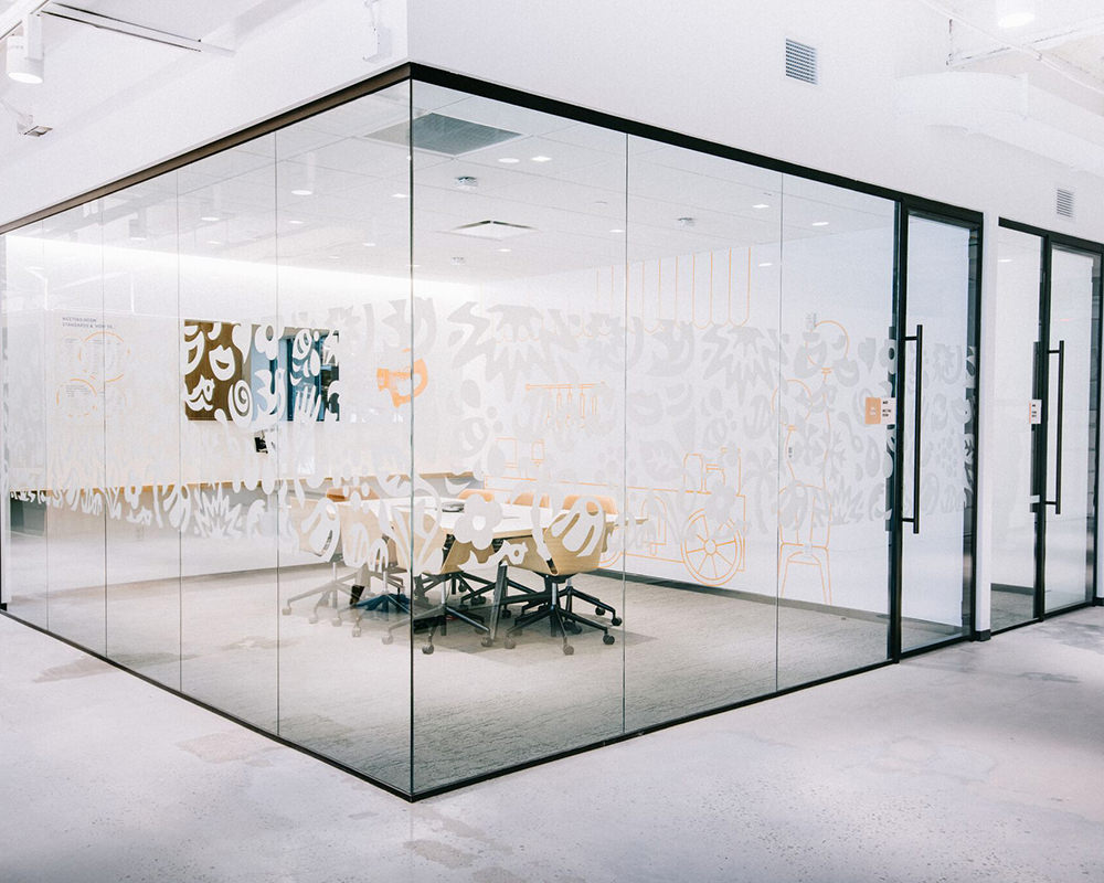 Office Room with 3 Glass Sides and Decorative Film