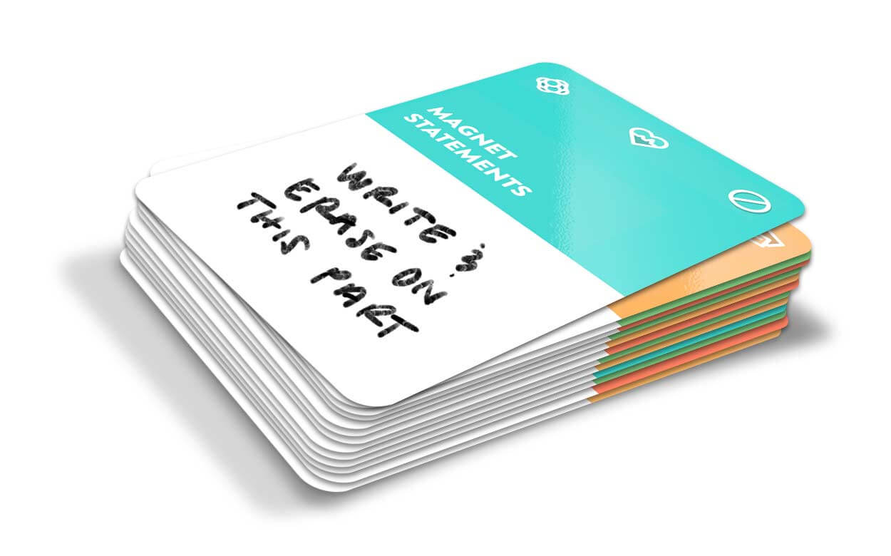 A stack of facilitator cards with Magnet Statements top