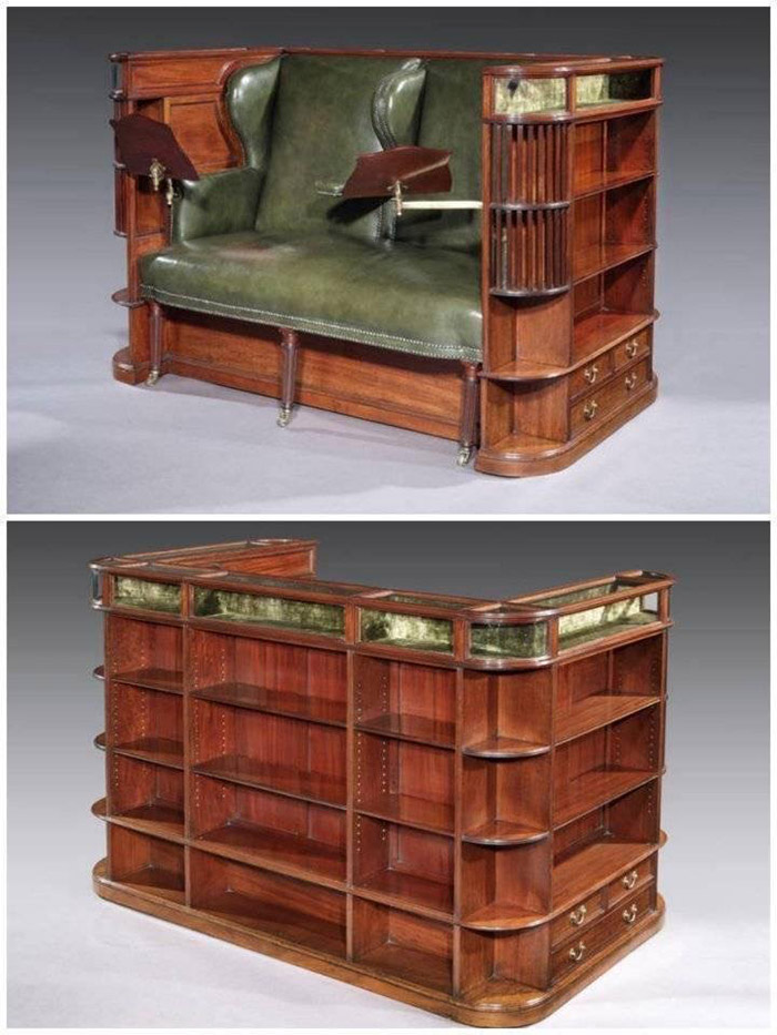 green leather reading couch