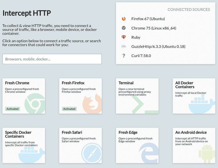 HTTP interception for Chrome, Firefox, CLI tools, Docker, Edge, Android and more