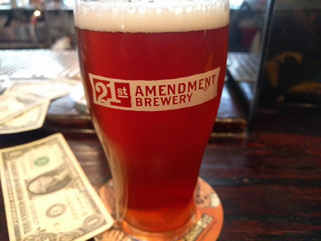 A pint of beer at the 21st Amendment Brewery in San Francisco, CA