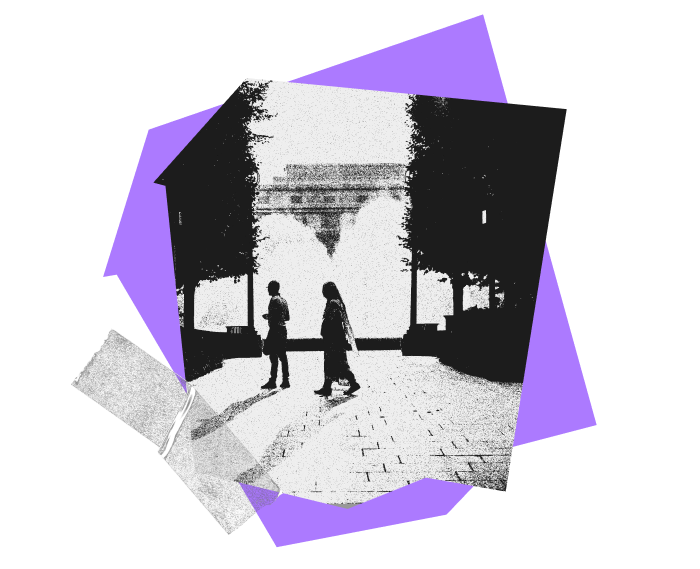 Collage made up of purple abstract shapes, and transparent tape, flanking a photograph of two people walking with a large fountain spraying in the background.