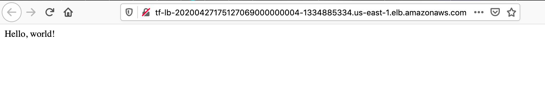 Hello world application screenshot