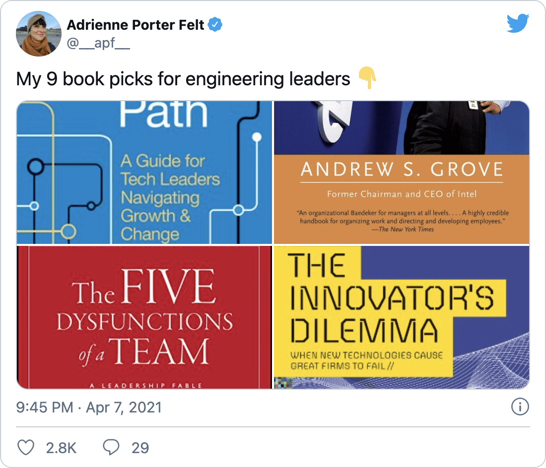 """@__apf__ on Twitter: """"My 9 book picks for engineering leaders 👇"""""""