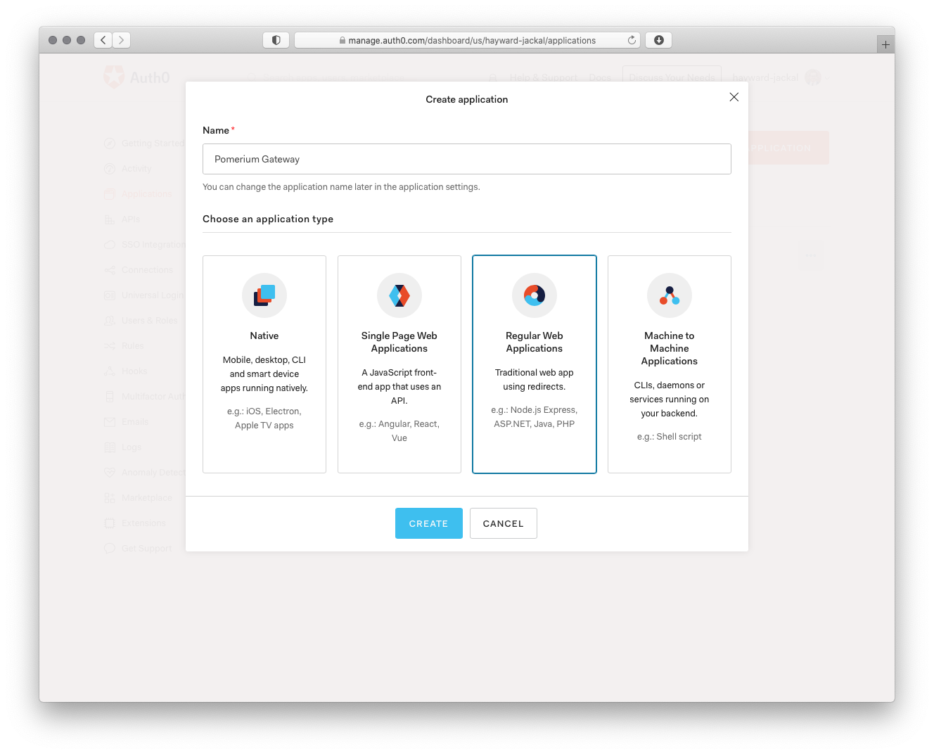 Auth0 Create Application Select Platform